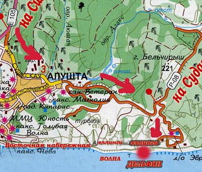 """карта Алушты (Восточная набережная, эллинги """"Волна"""" (""""Маленький Сайгон"""") и """"Дельфин"""""""
