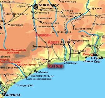 карта Белогорск - Приветное - Арпат - Морское