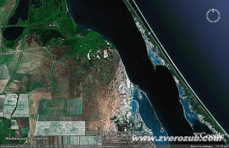 средняя часть Арабатской стрелки, Сиваш и Присивашье, Нижнегорский район. Территория курортного комплекса Салгирский (проект 1982) на космическом снимке Гугл