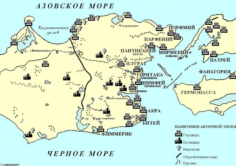 Карта Боспорского царства по итогам изучения античных источников и археологических раскопок