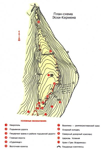 План-схема пещерного города Эски-кермен