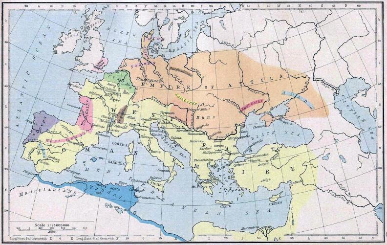 Европа в 450 году - держава императора варваров Атиллы против Римской империи