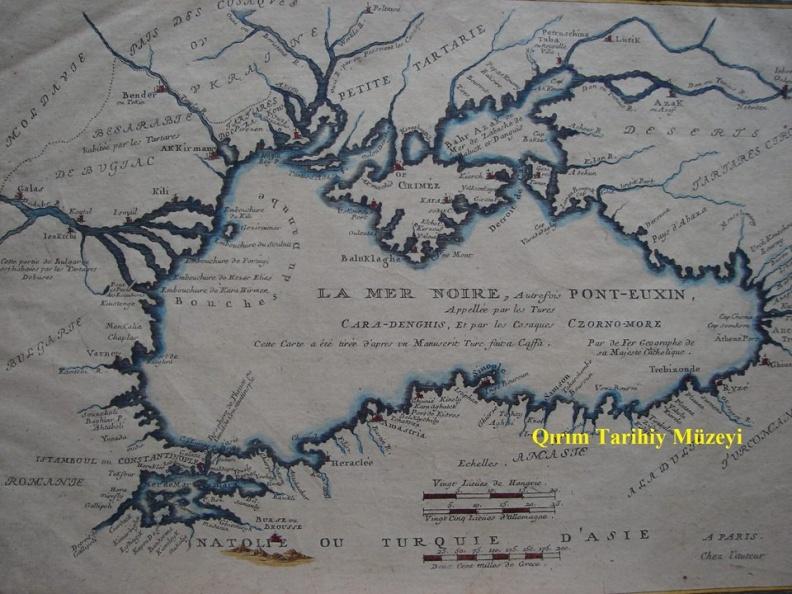 карта Черного моря (портолан) 1705 года, составлена в Кефе (Феодосия), издана в Западной Европе