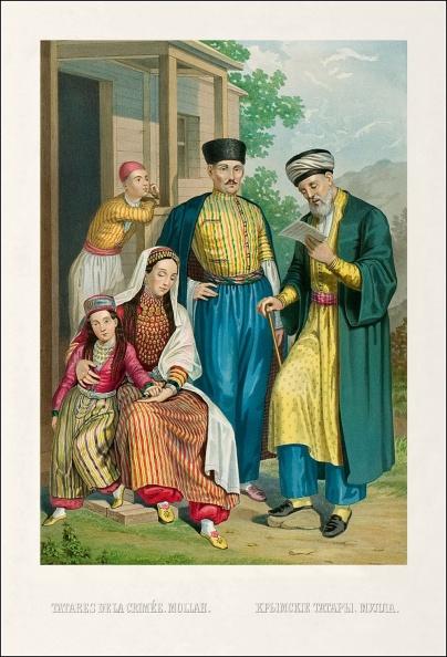 Крымские татары и мулла, старинная иллюстрация