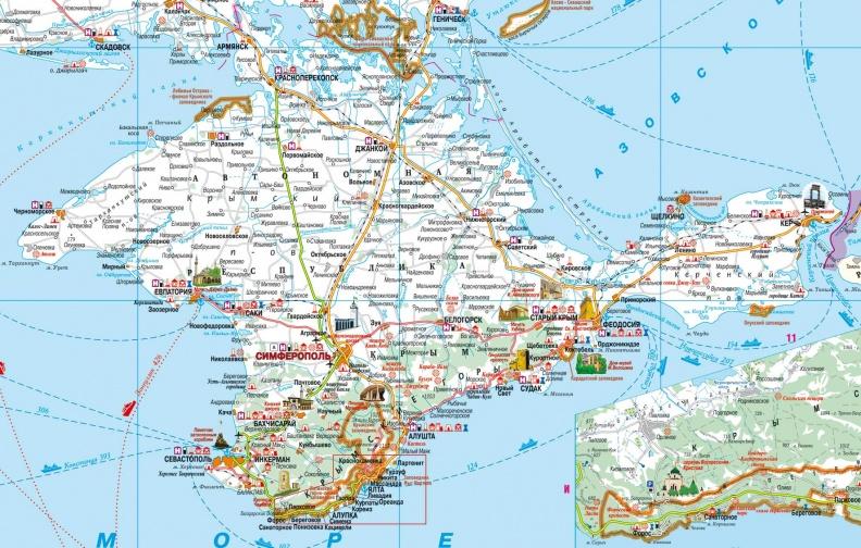 транспорт и достопримечательности Крыма, карта
