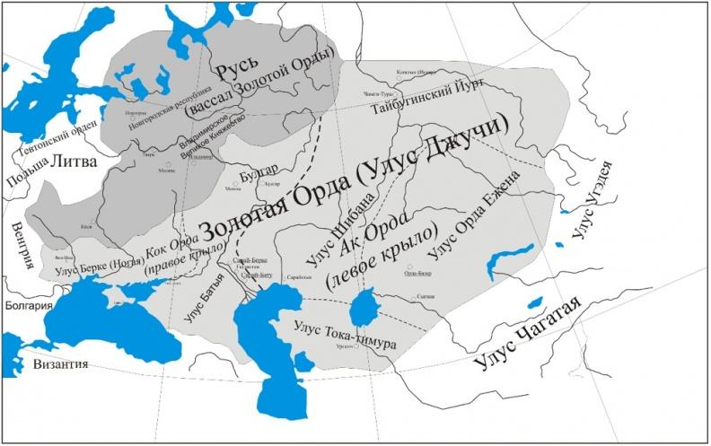 Золотая Орда в 1315 году, подчиненные территории и соседние государства, карта