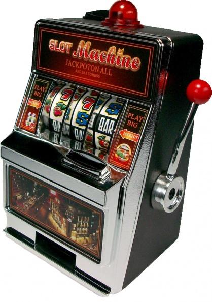 Однорукий бандит. Игровой автомат с отдельным большим рычагом на боку для запуска барабана.