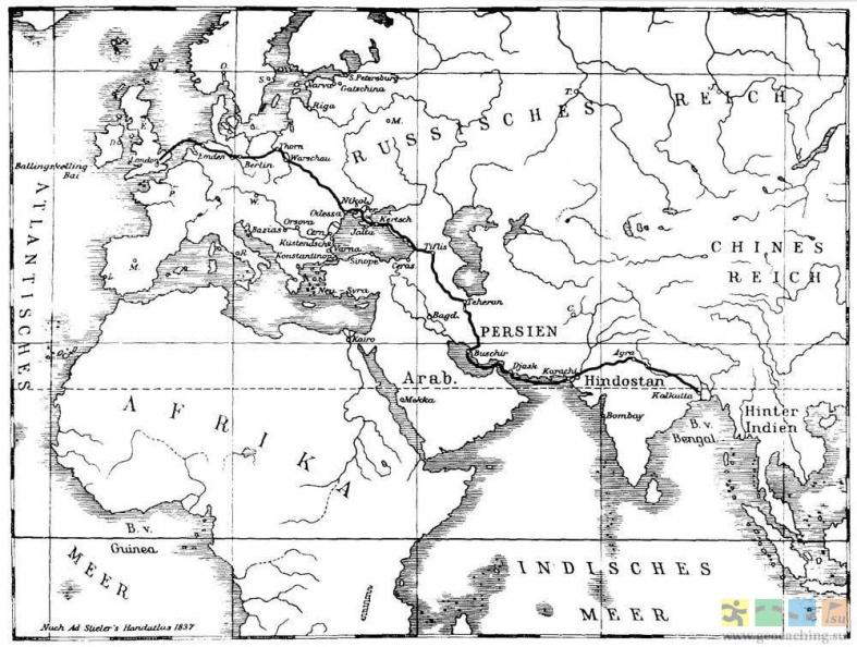Телеграфная линия 19 века Лондон - Калькутта (европейская и кавказская часть сухопутная, часть в Персидском заливе и Индийском океана подводная)