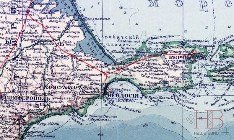Восточный Крым, Присивашье и Керченский полуостров в 1900 году, карта