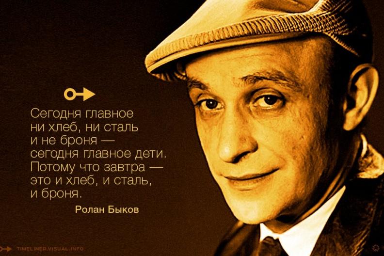 Ролан Быков, актёр, театральный режиссёр, кинорежиссёр, сценарист:   «Сегодня главное не хлеб, не сталь и не броня — сегодня главное дети. Потому что завтра — это и хлеб, и сталь, и броня.»