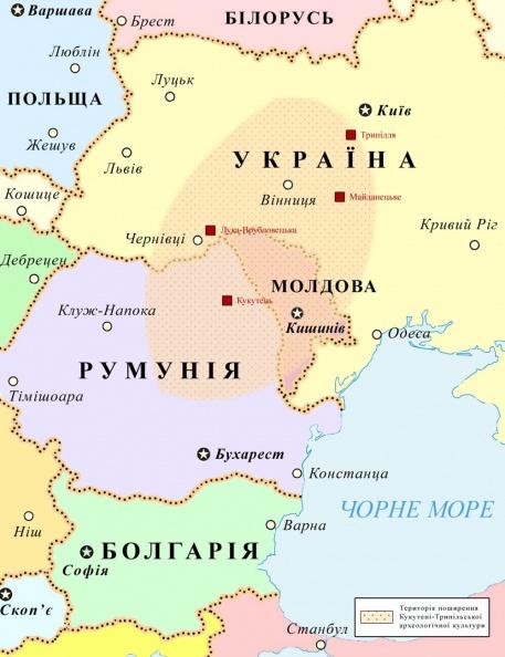 карта археологических находок Трипольской культуры и границы современных государств Cucuteni-Trypillya culture