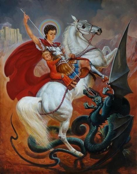 Святой Георгий спасает мальчика и поражает копьем Змия, икона