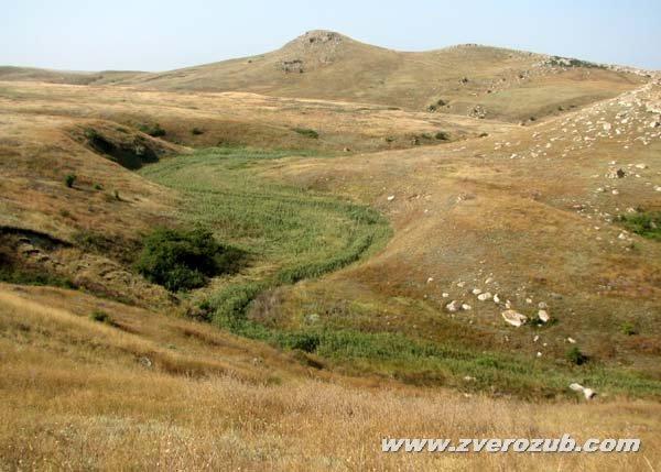 Серная речка и вид на скалу Сююр-таш с руинами античного поселения наверху