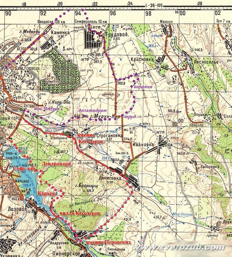 карта маршрутов в долине Малого Салгира и к Долгоруковской яйле