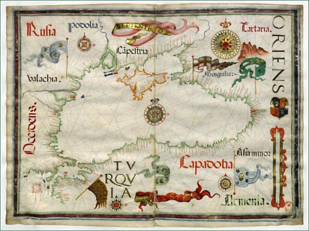 старинная карта Черного моря, 1559, государства Европы, Кавказа и Азии