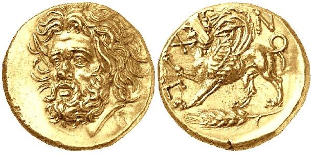 Золотая монета царя Великой Скифии Атея. Изображение бога реки Борисфен на одной стороне и грифона Боспорского царства, охраняющего хлебный колос, на другой. 4 век до новой эры