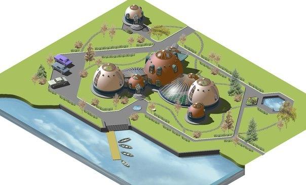 визуализация (макет) проекта комлексной застройки и благоустройства с применением купольных конструкций
