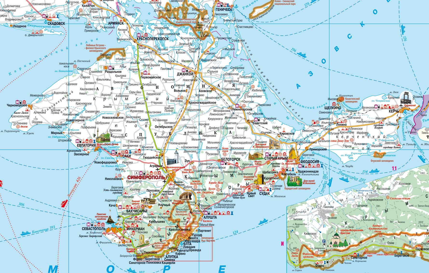 карта объектов природно-заповедного фонда Крыма на русском языке