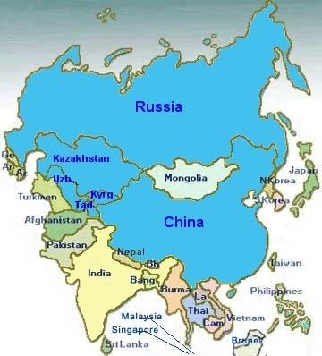 Карта Азии, голубым цветом обозначены страны ШОС Шанхайской организации сотрудничества