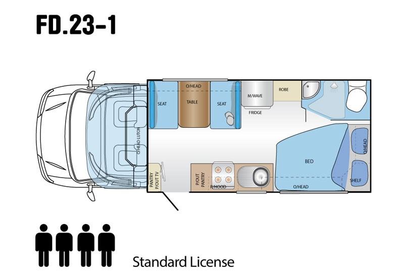 компоновка автодома на 4 места, мебельный фургон
