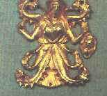 золотая бляшка с изображение змееногой богини Девы, нашивка на конской сбруе скифов