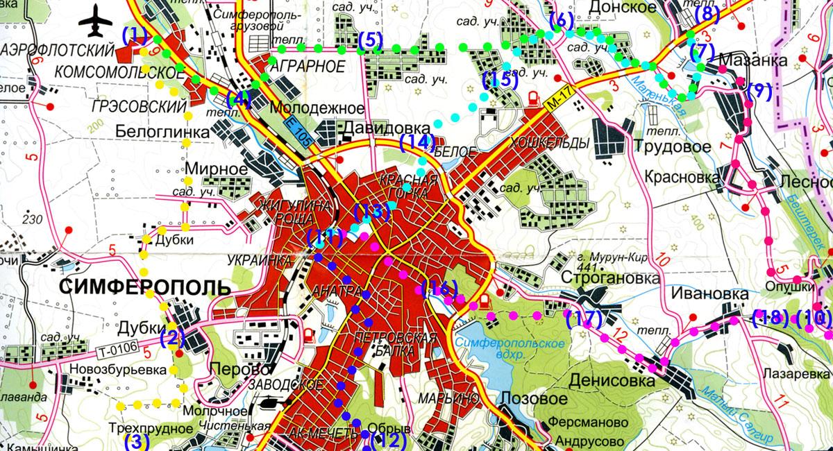 Главные точки в вело-пешеходных маршрутах для выезда из Симферополя загород