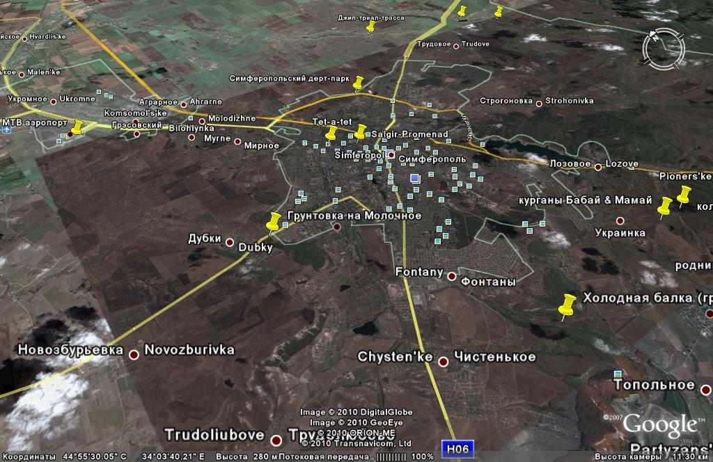 Маршруты для самостоятельных путешествий на горном велосипеде от Симферополя (Жд вокзал, аэропорт) на юго-запад, юг и юго-восток, контрольные точки
