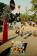 мобильный баскетбольный щит для игры в стритбол и трамплин для роликовых коньков под ним (31 кб)